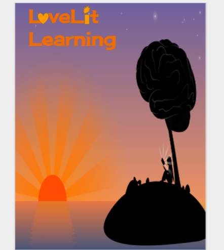 LoveLit Learning cover setting sun silhouette of child read an illuminated book under a brain shaped  tree